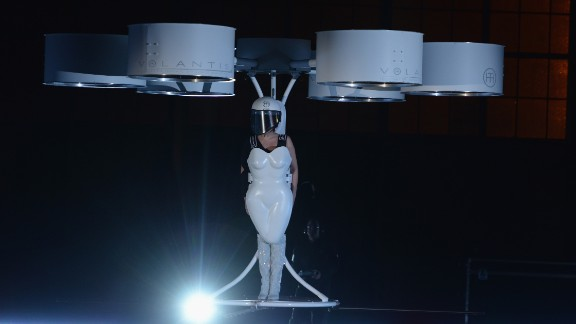"On November 10, 2013, Lady Gaga took one small step for fashion-kind and debuted a ""flying dress,"" essentially a hovercraft-like device, called Volantis."