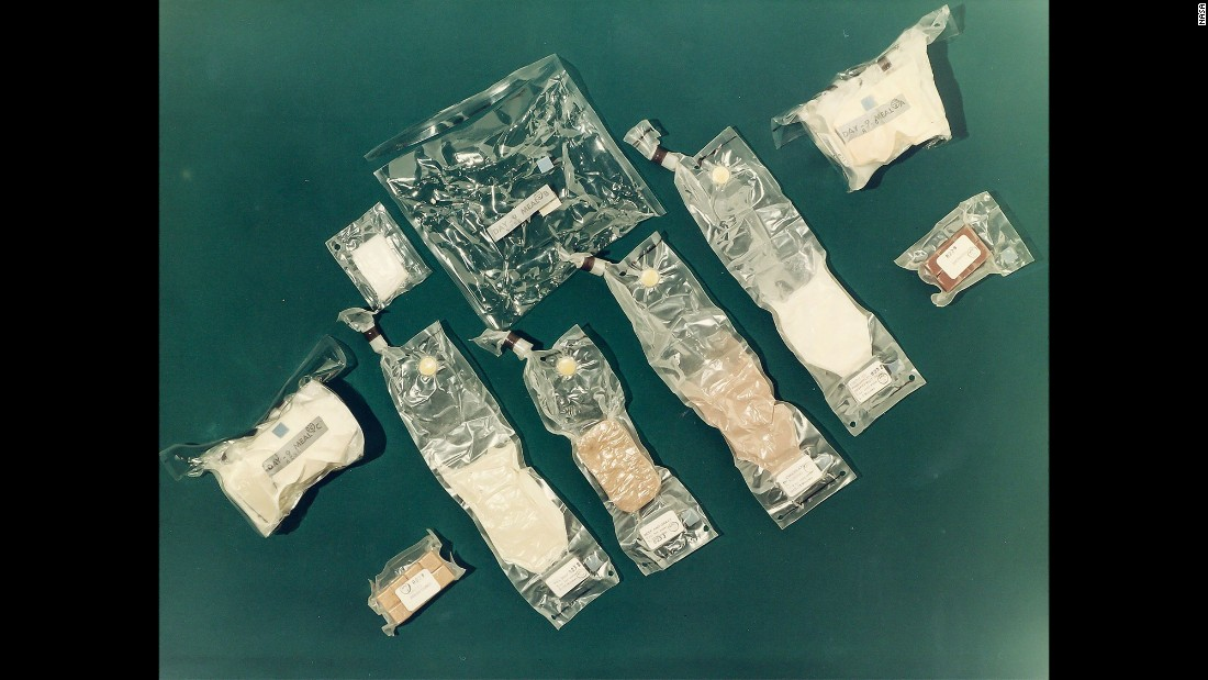 Space food is seen on Apollo 8 in December 1968. On Christmas Day, the crew feasted on ready-to-eat turkey, gravy and cranberry sauce.