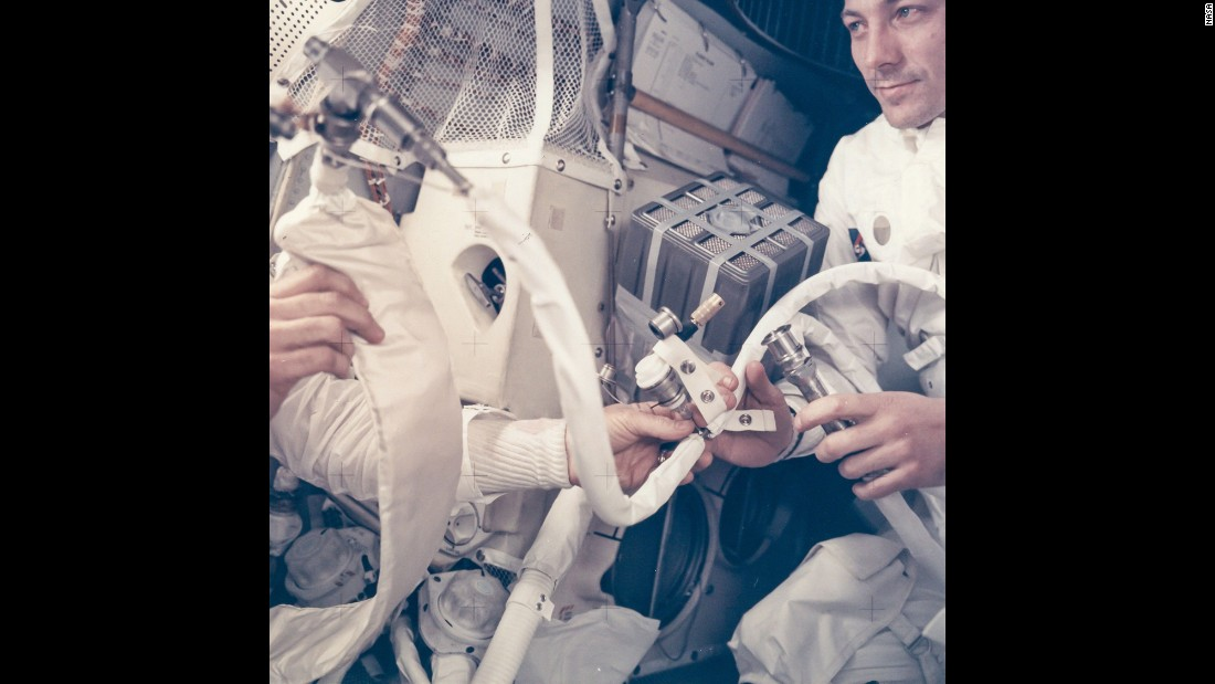 "Jack Swigert works on the ""mailbox"" in the Apollo 13 lunar module Aquarius in April 1970. The service module that had been due to take the astronauts back to Earth was destroyed by an oxygen tank explosion. Speaking to mission control, Jim Lovell delivered the famous line: ""Houston, we've had a problem."" In order to purge carbon dioxide from the lunar module, an improvised contraption that became known as the mailbox was devised. ""I never felt we were in a hopeless situation,"" Fred Haise said. ""No, we never had that emotion at all. We never were with our backs to the wall, where there were no more ideas, or nothing else to try, or no possible solution. That never came."""