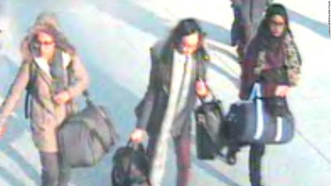 Teenagers Amira Abase, Shamima Begum and Kadiza Sultana, were caught on CCTV at London's Gatwick Airport as they traveled to Turkey on their way to Syria.