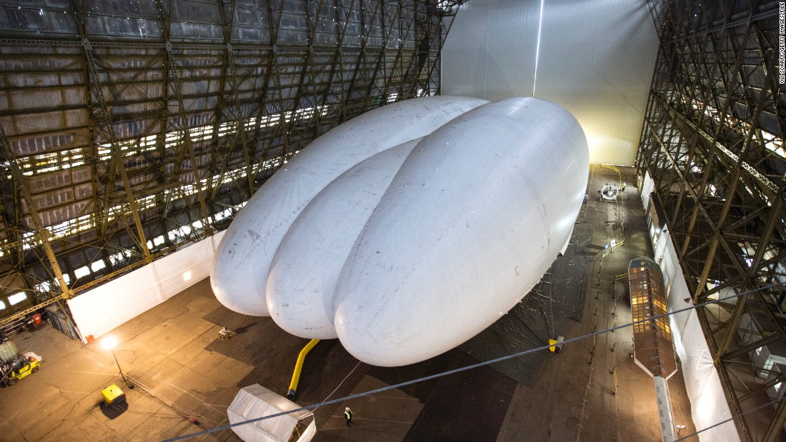 The helium-filled Airlander is pictured in a giant shed in Cardington, England, in February 2014.