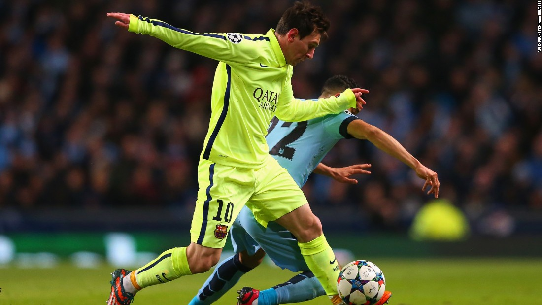 Barcelona ran riot in the first half and Lionel Messi made a dazzling run, beating three City players ...