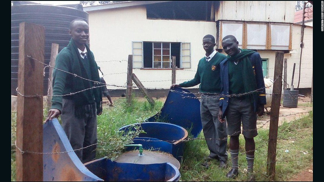 The team collect cow dung from the school farm and food refuse after meals and put the mixture along with water in the digester which then produces the biogas. A pipe later carries the gas through to the kitchen and the gas-powered stove.
