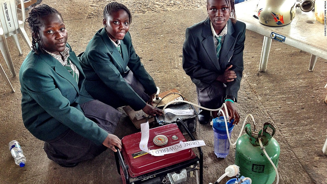 Similar initiatives are taking place in other parts of the continent. In Nigeria, these teenagers have created a urine powered generator which provides six hours of electricity.