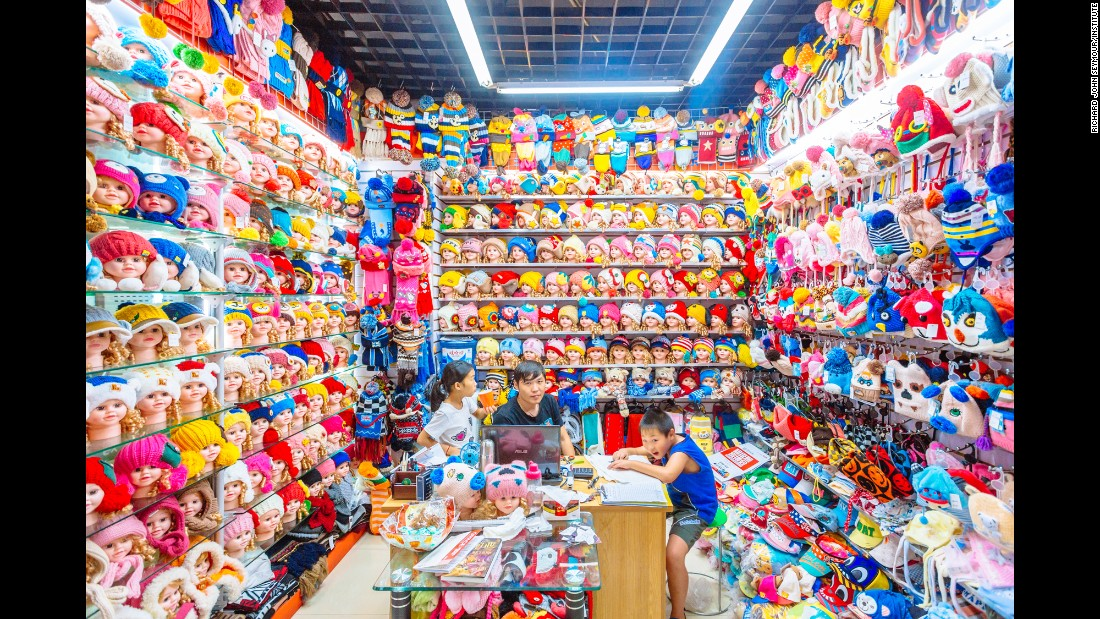 Children's woolen hats are seen on display at Commodity City in Yiwu, China. Photographer Richard John Seymour visited the vast wholesale market twice last year.