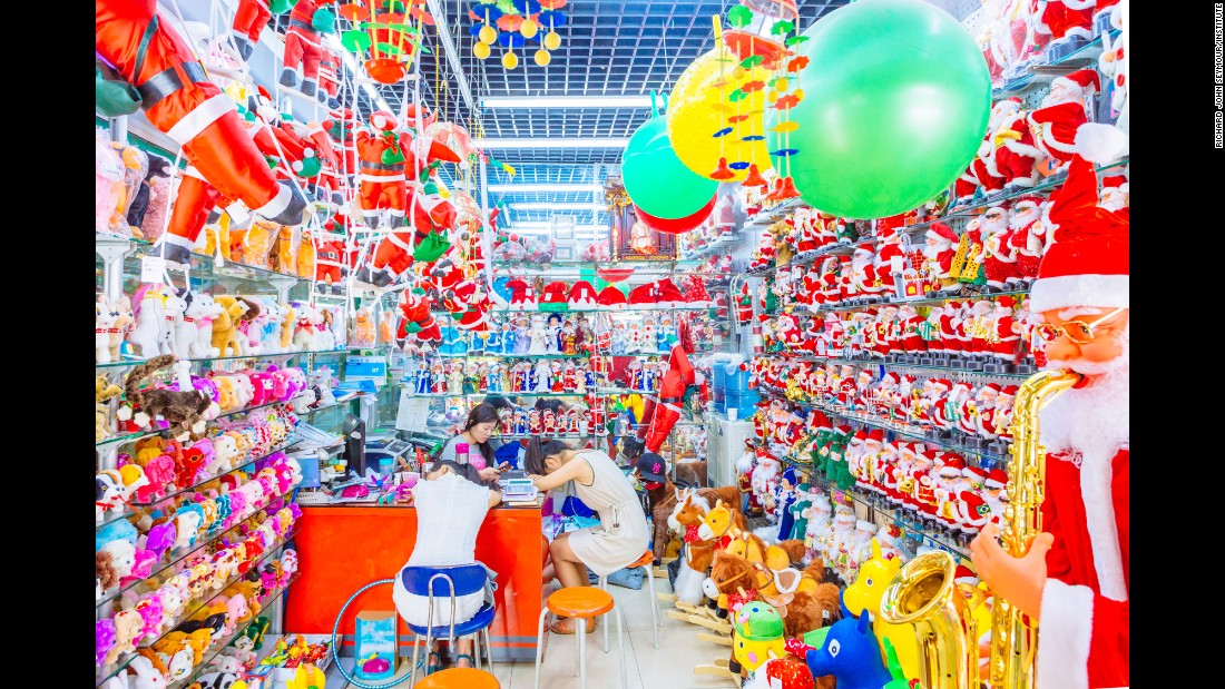 "Novelty Christmas items are on display in a booth at Commodity City. ""Sellers do not leave their store or close for lunch throughout the course of the day,"" Seymour said. He found that napping at their desks after lunch was a common phenomenon."