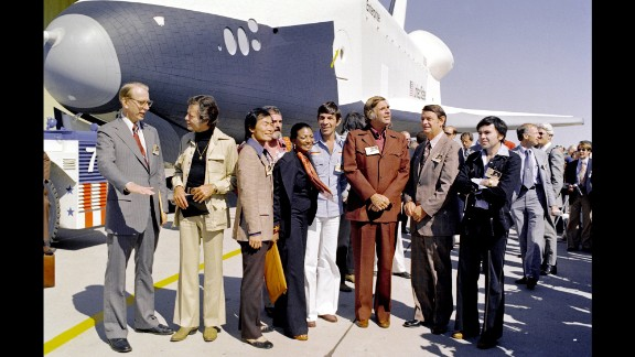 """Nimoy, who loved science, took part in NASA's rollout of the space shuttle Enterprise with other members of the """"Star Trek"""" cast in 1976."""