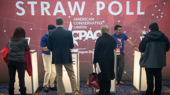People take part in a 'straw poll' to pick the conservative candidate for the 2016 US presidential election.