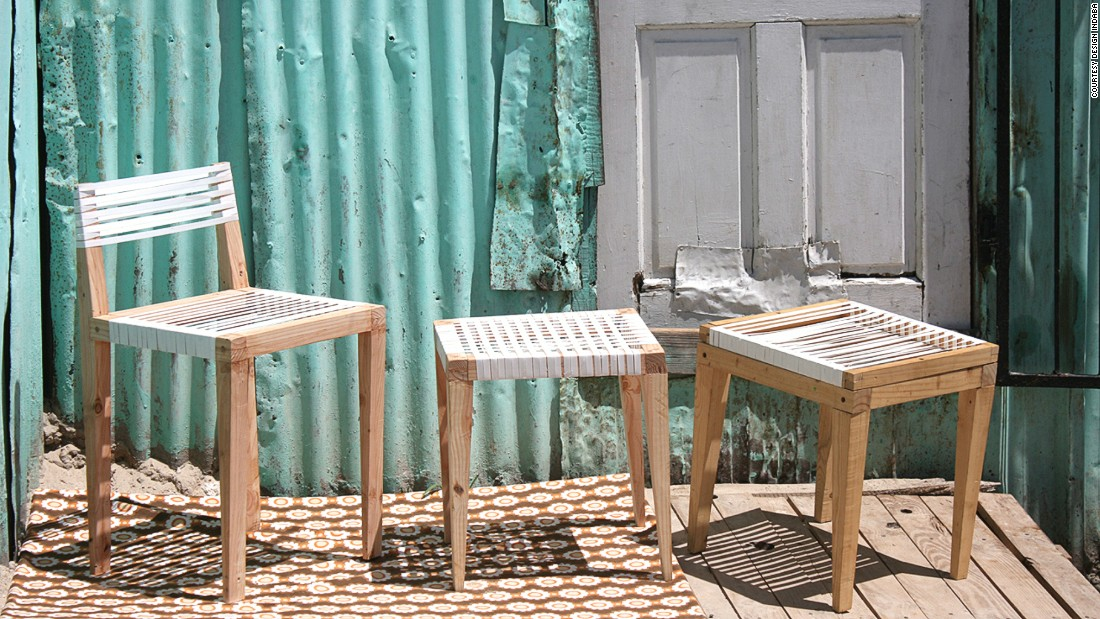 Cape Town-based artist Bonga Jwambi creates affordable furniture from reused materials. These chairs were constructed from old transport materials, including pallets and box packaging.