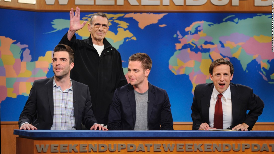 "Nimoy drops by for a 2009 episode of ""Saturday Night Live"" with Zachary Quinto (who took over the Spock role in the most recent movies), Chris Pine (who played Kirk) and ""SNL's"" Seth Meyers."