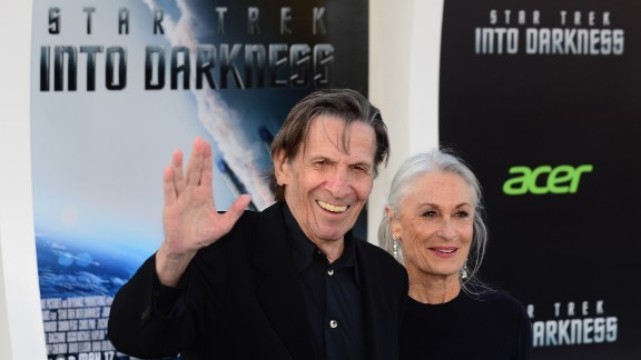 """Nimoy arrives with his wife, Susan Bay Nimoy, for the Los Angeles premiere of the movie """"Star Trek Into Darkness"""" in 2013."""