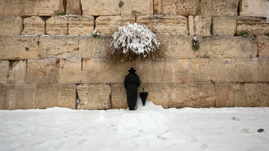 An ultra-Orthodox Jewish man prays at the Western Wall in Jerusalem on Friday, February 20.
