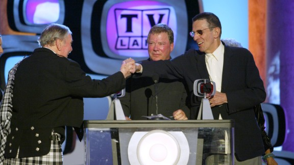 """James Doohan (Scotty), William Shatner (Kirk) and Nimoy accept a Pop Culture Award for """"Star Trek"""" during the TV Land Awards in 2003."""
