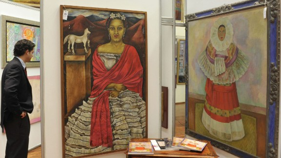 Painter Maria Izquierdo (1902-55), whose self-portrait is shown on the left, was inspired by Mexican folklore. Among her admirers was fellow Mexican artist Diego Rivera, whose work is shown on the right. Her 1930 solo show in New York was the first one-person exhibition in the United States to feature the work of a Mexican woman. Born in 1902, Izquierdo grew up in a rural village before moving to Mexico City in 1923. Several years later, she became a student at the city's Escuela Nacional de Bellas Artes, which is geo-tagged in the Google app.