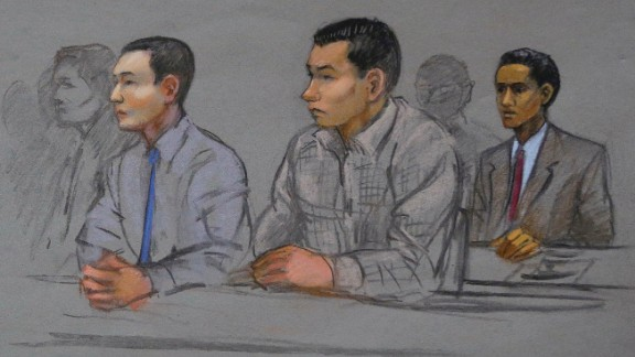 A courtroom sketch shows college friends Tazhayakov, Kadyrbayev and Robel Phillipos (left to right) at a hearing in May 2015. Tazhayakov and Kadyrbayev were convicted of hiding evidence and Phillipos was convicted of lying to federal investigators.