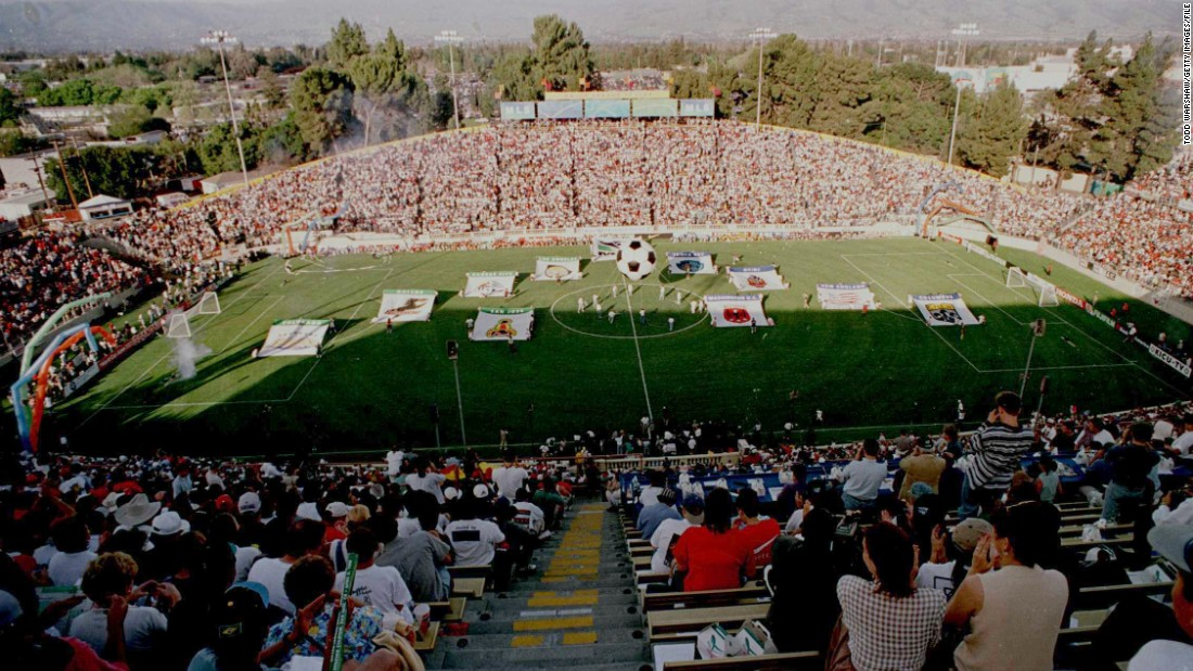 The birth of Major League Soccer. Fans at the Spartan Stadium in San Jose, California, prepare to watch San Jose Clash take on DC United in the first ever MLS match.