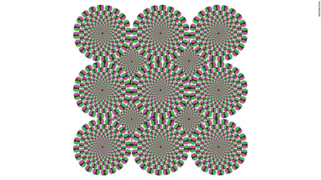 Same with these circles. Move your head around while staring at them, then hold your head still. The circles will appear to rotate briefly.