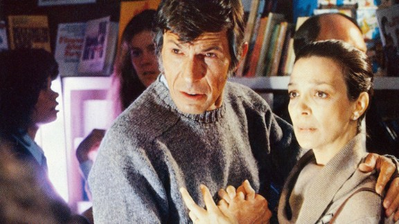 """Nimoy played a psychiatrist in the 1978 version of """"Invasion of the Body Snatchers,"""" here with Lelia Goldoni."""