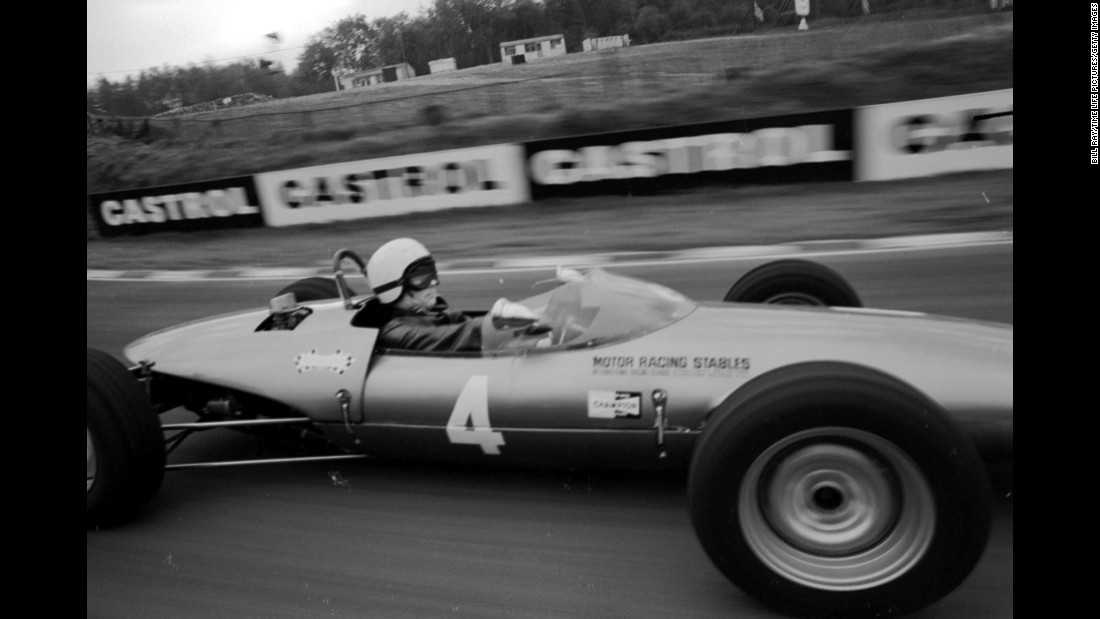 Polanski drives his Formula One race car at Brands Hill racing track in London in 1968.