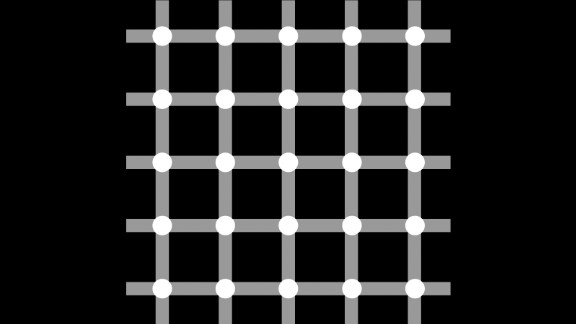 As you scan over this image, do you see gray or black dots? It's called a scintillating grid illusion, made by superimposing white discs on the intersections of gray bars against a black background. Dark dots seem to appear and disappear rapidly at the intersections, although if you stare directly at a single intersection, the dark dot does not appear.