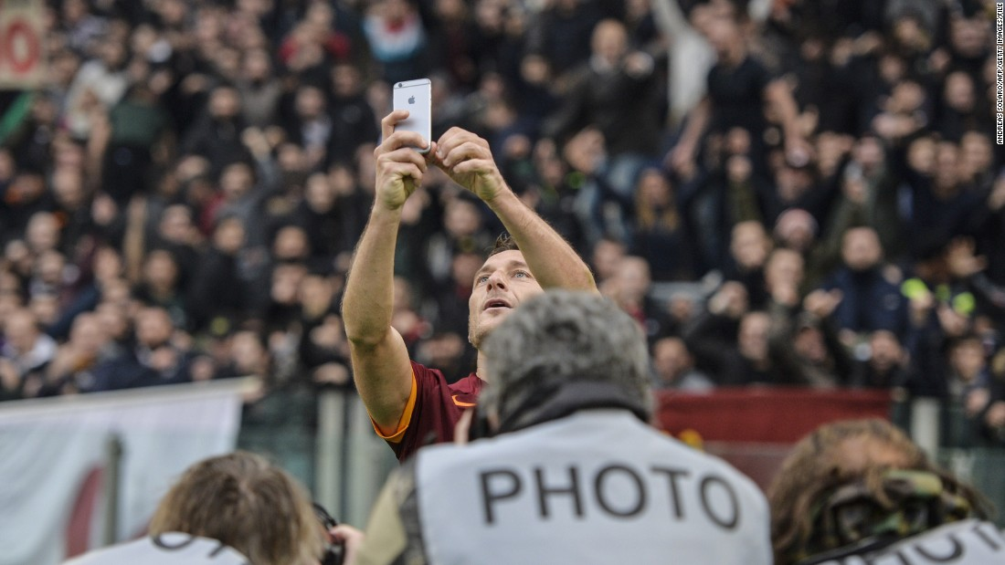 "Roma's captain Francesco Totti set social media alight in January when he celebrated a goal against Lazio by taking a selfie in front of the famous ""Curva Sud."""