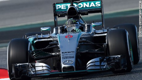 Nico Rosberg left his rivals trailing for Mercedes on the second day of F1 testing in Barcelona.