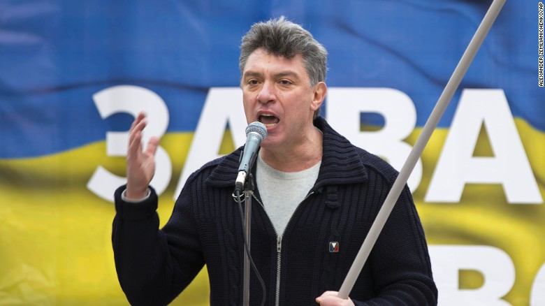 FILE - In this file photo taken on Saturday, March 15, 2014, Boris Nemtsov, a former Russian deputy prime minister and opposition leader addresses demonstrators during a massive rally to oppose president Vladimir Putin's policies in Ukraine, in Moscow, Russia. Russian police say opposition leader Boris Nemtsov has been shot and killed in Moscow. (AP Photo/Alexander Zemlianichenko, File)