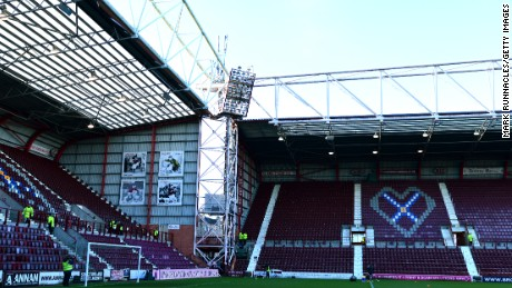 Tynecastle Stadium in Edinburgh where Hearts defeated Cowdenbeath 10-0 on 28 February 2015.