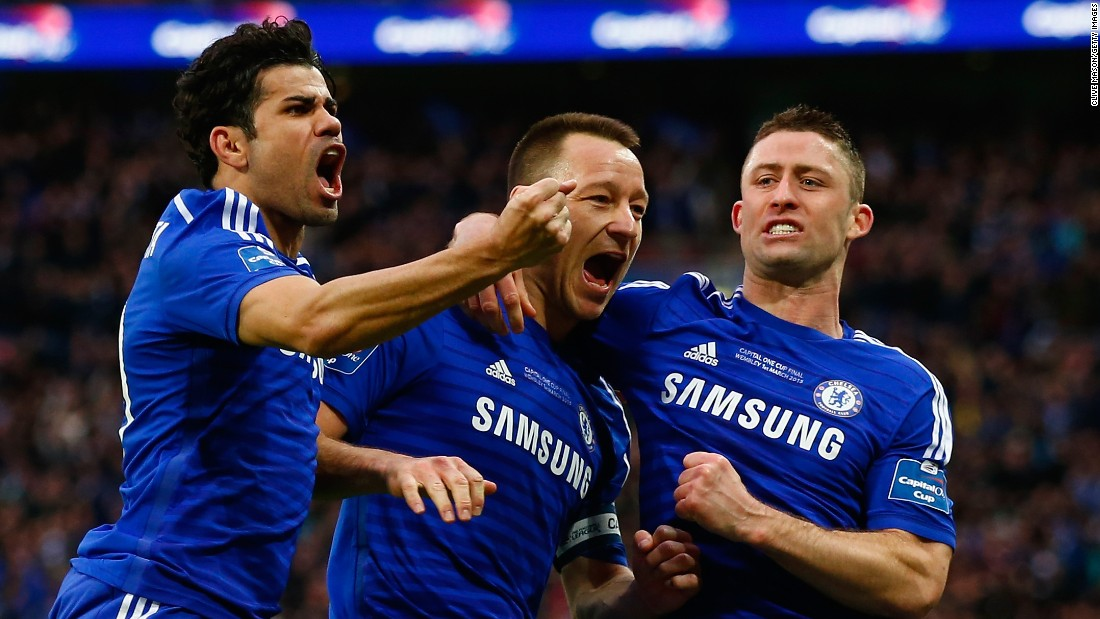 Terry is congratulated after breaking the deadlock for Chelsea late in the first half at Wembley