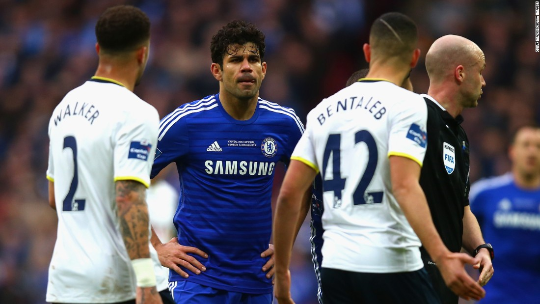 Costa was in combative mood and gets involved in a confrontation with Kyle Walker and Nabil Bentaleb.