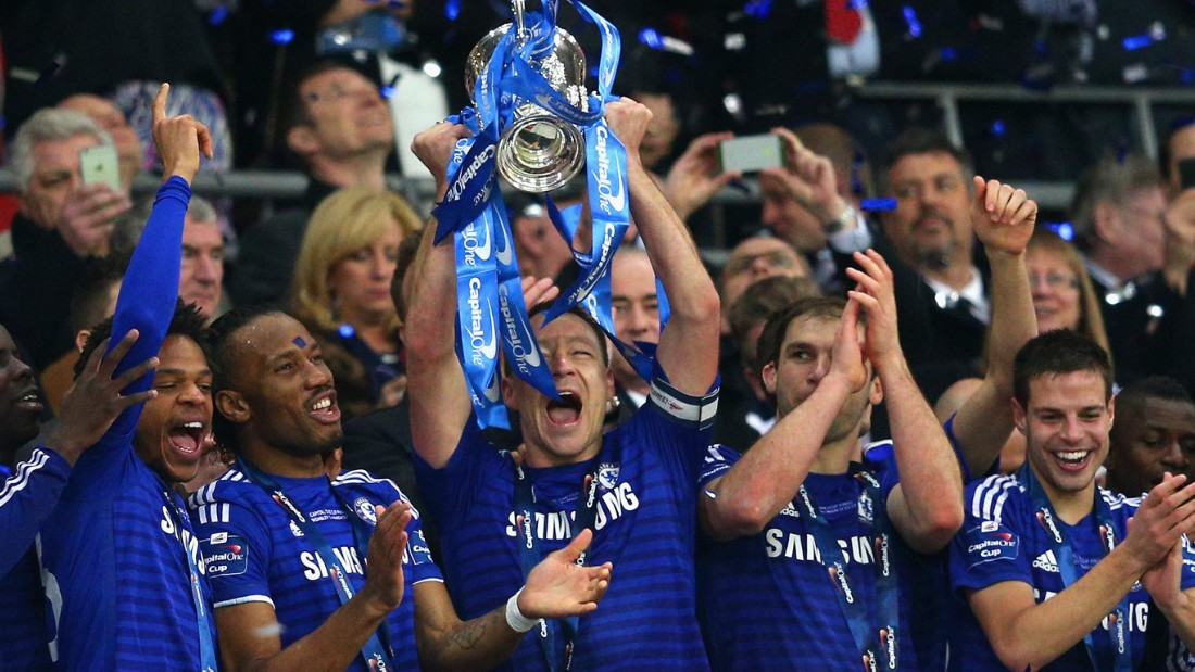 Captain fantastic John Terry lifts the English League Cup after a 2-0 win over Tottenham Hotspur at Wembley.