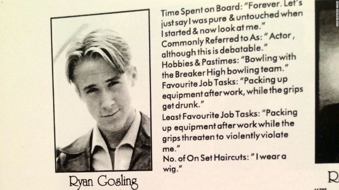 "Ryan Gosling's entry in a Breaker High ""yearbook"" for cast and crew."