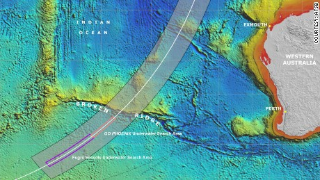 Map showing the main search area for MH370