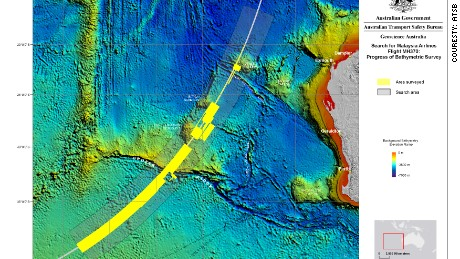 The areas surveyed as of December 2014  in the MH370 search zone.