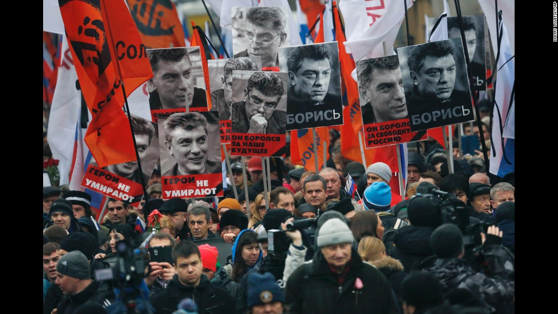 People march near the Kremlin in Moscow on March 1.