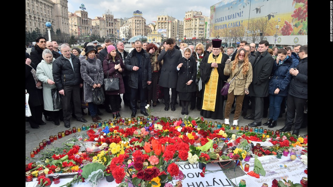 People gather to honor Nemtsov during a ceremony at Maidan, or Independence, Square in Kiev, Ukraine, on March 1.
