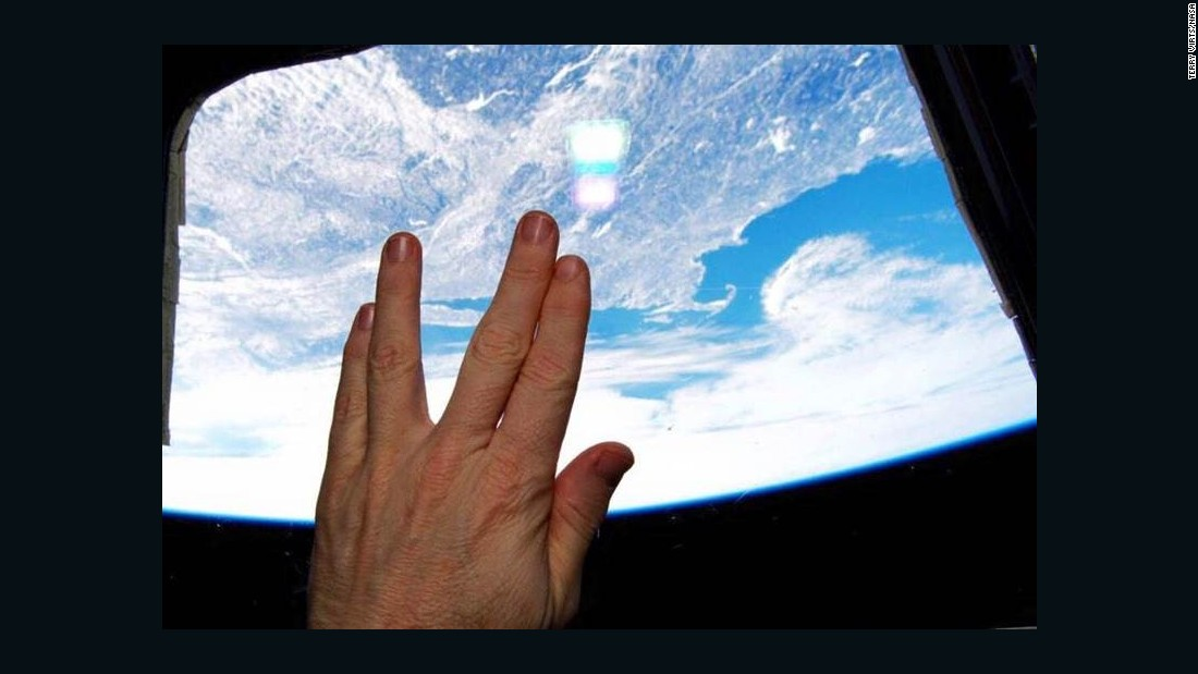 NASA Astronaut Terry Virts captured this photo from the International Space Station flying over Boston, where Leonard Nimoy was born.