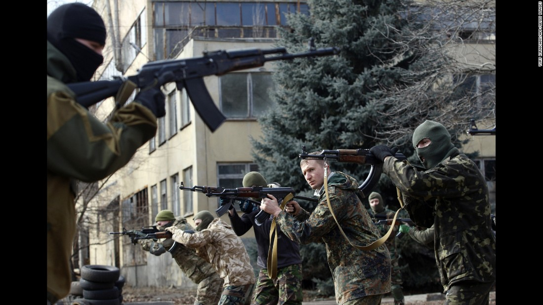An instructor of the Ukrainian volunteer Azov Battalion conducts training exercises in Kiev, Ukraine, on Sunday, March 1.