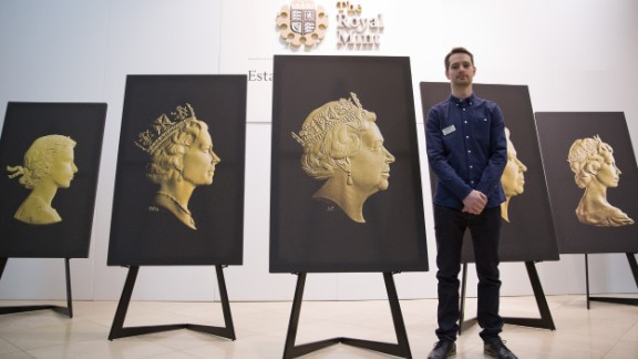 Mint engraver Jody Clark designed the latest portrait of Elizabeth II, shown at center.