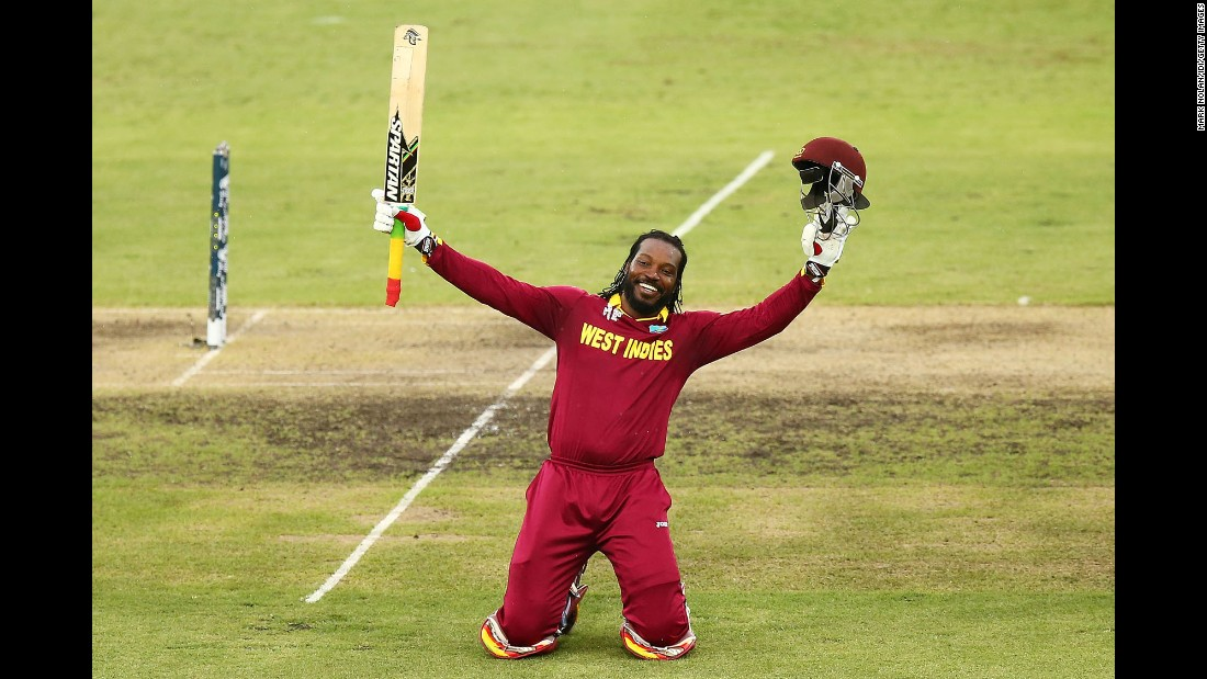 Chris Gayle of the West Indies celebrates after he scored a double century against Zimbabwe during a Cricket World Cup match played Tuesday, February 24, in Canberra, Australia. The West Indies won the match by 73 runs.