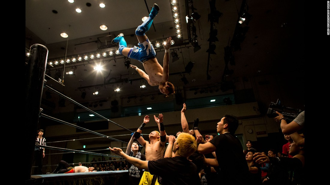College students from pro wrestling clubs put on a show Thursday, February 26, in Tokyo.
