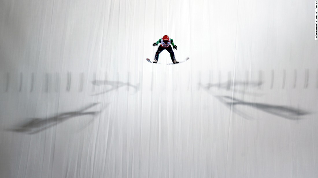 German ski jumper Richard Freitag soars through the air Thursday, February 26, at the Nordic World Ski Championships, which were held in Falun, Sweden.