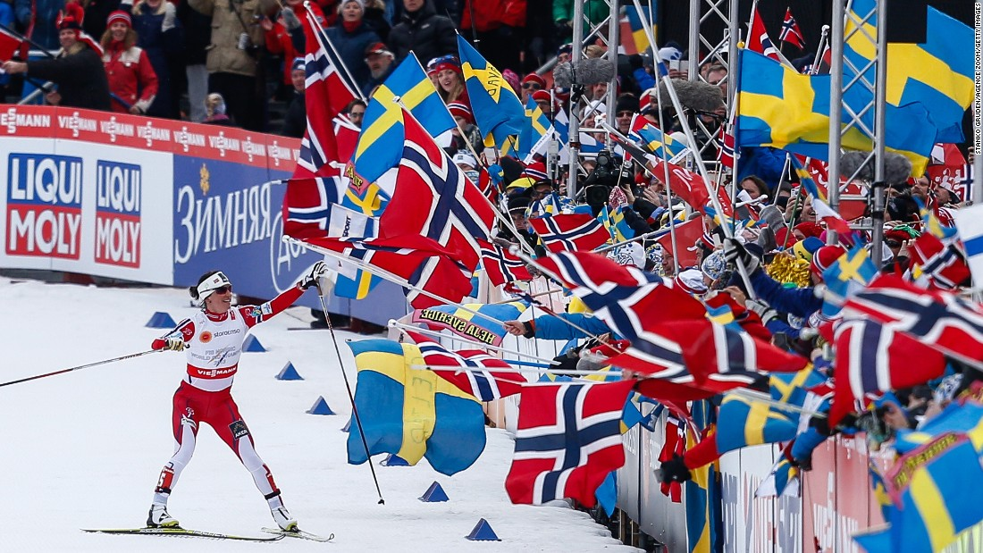 Cross-country skier Marit Bjoergen waves to the crowd after skiing the final leg of a relay race that she and her Norwegian compatriots won Thursday, February 26, at the Nordic World Ski Championships in Falun, Sweden. Bjoergen is one of the most decorated Winter Olympians ever. She has won 10 Olympic medals -- six of them gold -- during her illustrious career.