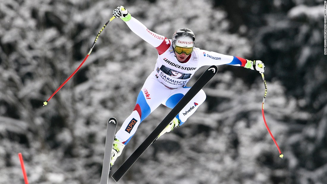 Swiss skier Beat Feuz competes in the downhill Saturday, February 28, during a World Cup event in Garmisch-Partenkirchen, Germany.