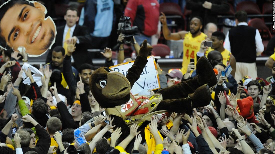 Testudo, the mascot of the Maryland Terrapins, is held up by fans who stormed the court after the men's basketball team upset Wisconsin 59-53 on Tuesday, February 24.