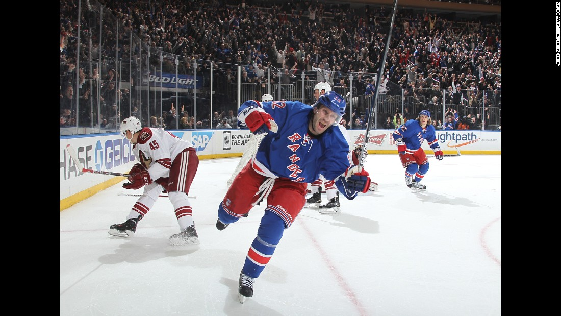 Lee Stempniak, center, reacts after scoring what proved to be the game-winning goal during the New York Rangers' 4-3 home win over Arizona on Thursday, February 26. It would be his final goal for the team, as he was traded several days later to the Winnipeg Jets.