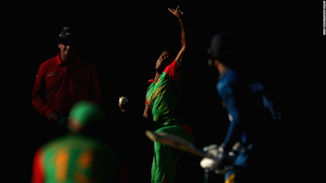 Rubel Hossain of Bangladesh bowls to Kumar Sangakkara of Sri Lanka during a Cricket World Cup match Thursday, February 26, in Melbourne. Sri Lanka won the match by 92 runs.
