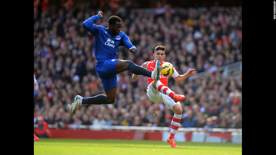 Everton's Romelu Lukaku, left, and Arsenal's Gabriel compete for the ball during a Premier League match in London on Sunday, March 1. Arsenal won the match 2-0.
