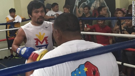 Manny Pacquiao takes to the ring at his gym for a sparring session.