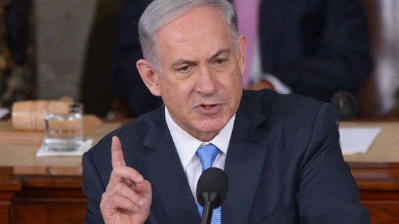 Israel's Prime Minister Benjamin Netanyahu speaks during an address to Congress on March 3, 2015 at the US Capitol in Washington, DC. Netanyahu was invited by House Speaker John Boehner to address Congress without informing the White House.  AFP PHOTO/MANDEL NGAN        (Photo credit should read MANDEL NGAN/AFP/Getty Images)